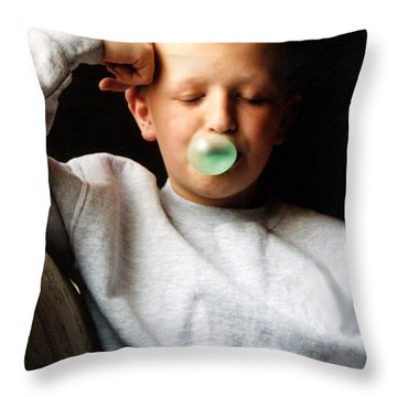 One More Bubble Throw Pillow by Susan Stevenson