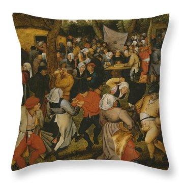Open Air Wedding Dance Throw Pillow by Pieter the Younger Brueghel