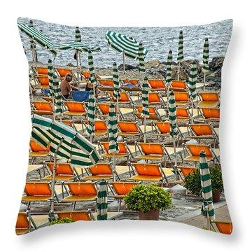 Orange Beach Chairs  Throw Pillow by Mauro Celotti