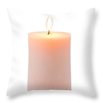 Orange Candle Throw Pillow by Atiketta Sangasaeng