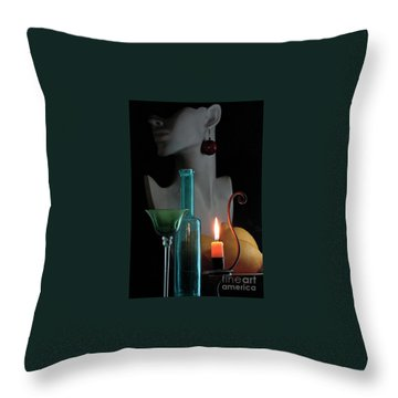 Throw Pillow featuring the photograph Orange Candle by Elf Evans