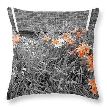Orange Day Lilies. Throw Pillow by Ausra Huntington nee Paulauskaite