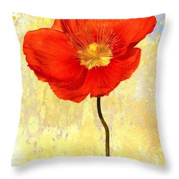 Orange Iceland Poppy On Yellow And Blue Throw Pillow