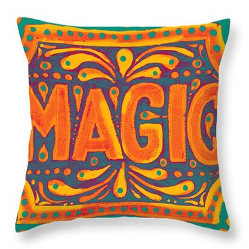 Throw Pillow featuring the painting Orange Magic  by Nada Meeks