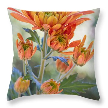 Orange Mums Throw Pillow by Heidi Smith