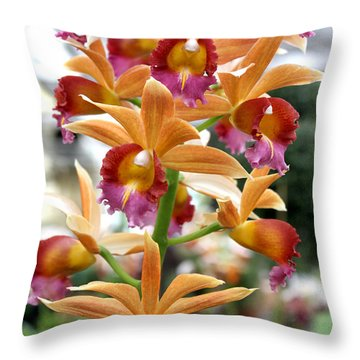 Throw Pillow featuring the photograph Orange Orchids by Debbie Hart