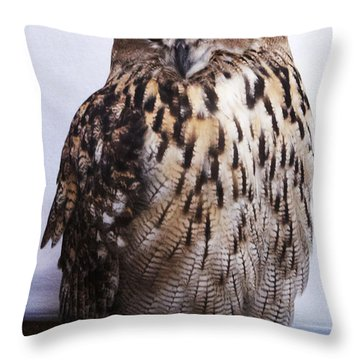 Orange Owl Eyes Throw Pillow