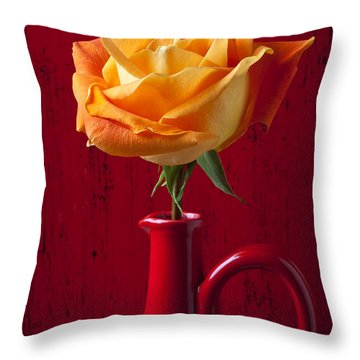 Orange Rose In Red Pitcher Throw Pillow by Garry Gay