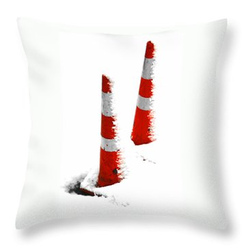 Throw Pillow featuring the digital art Orange Snow Cones by Steve Taylor