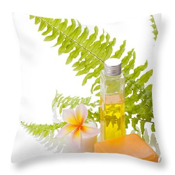 Orange Soaps Throw Pillow by Atiketta Sangasaeng