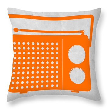 Orange Transistor Radio Throw Pillow by Naxart Studio