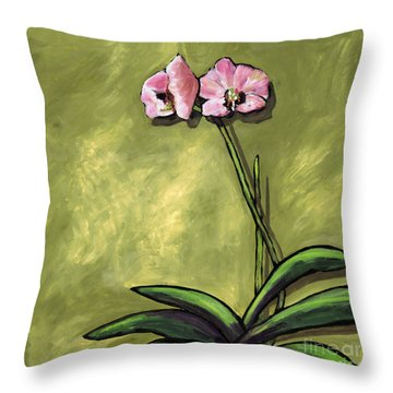 Orchid On Olive Throw Pillow