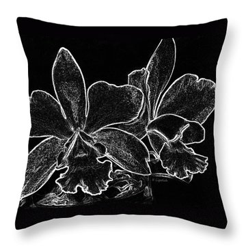 Throw Pillow featuring the digital art Orchids - Black And White Abstract by Kerri Ligatich
