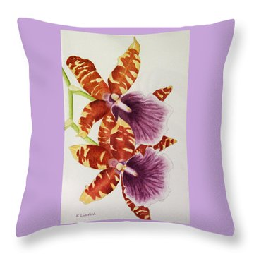 Throw Pillow featuring the painting Orchids - Tiger Stripes  by Kerri Ligatich
