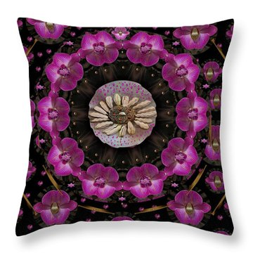 Orchids And Fantasy Flowers Throw Pillow by Pepita Selles