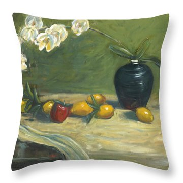 Orchids And Vase Throw Pillow by Marlyn Boyd