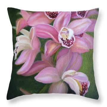 Orchids Throw Pillow by Marlyn Boyd
