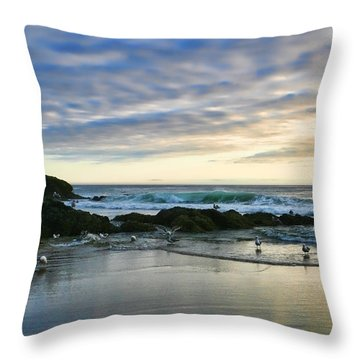 Oregon Coast At Dusk Throw Pillow by Bonnie Bruno