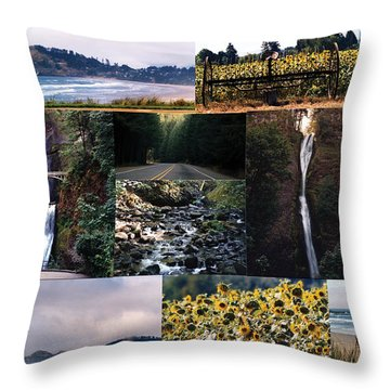 Oregon Collage From Sept 11 Pics Throw Pillow by Maureen E Ritter