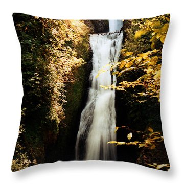 Throw Pillow featuring the photograph Oregon Waterfall Yellows by Maureen E Ritter