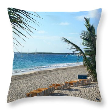 Throw Pillow featuring the photograph Orient Beach St Maarten by Catie Canetti