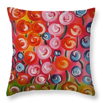 Original Modern Impasto Flowers Painting  Throw Pillow