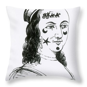 Ornamental Patches On Face, 17th Century Throw Pillow by Photo Researchers