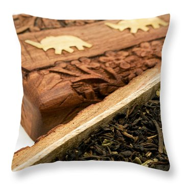 Ornate Box With Darjeeling Tea Throw Pillow