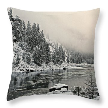 Orofino Snow Clearwater River Throw Pillow
