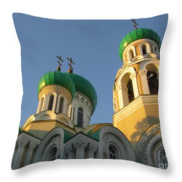 Orthodox Church Of Sts Michael And Constantine- Vilnius Lithuania Throw Pillow