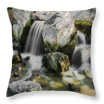 Osaka Garden Waterfall Throw Pillow