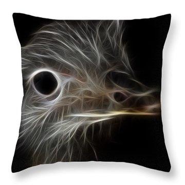 Ostrich Fractalius Throw Pillow