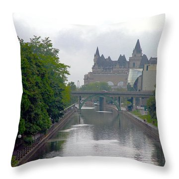 Ottawa Rideau Canal Throw Pillow by Valentino Visentini
