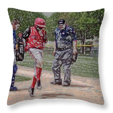 Ouch Baseball Foul Ball Digital Art Throw Pillow by Thomas Woolworth