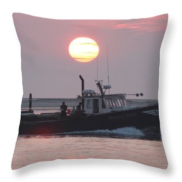 Out To Sea At Sunrise Throw Pillow