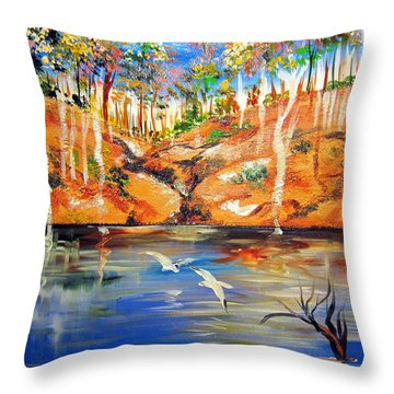Throw Pillow featuring the painting Outback Billabong My Way by Roberto Gagliardi