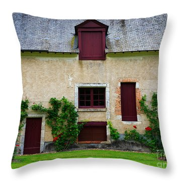 Outbuildings Of Chateau Cheverny Throw Pillow by Louise Heusinkveld