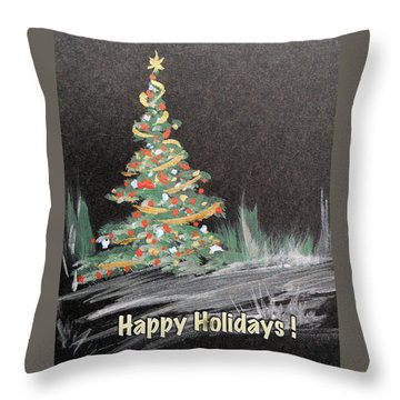 Throw Pillow featuring the painting Outdoor Christmas Tree by Dorothy Maier