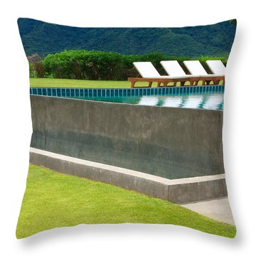 Outdoor Swimming Pool Throw Pillow by Atiketta Sangasaeng
