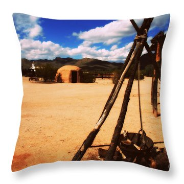Outdoor Village Movie Set Throw Pillow by Susanne Van Hulst