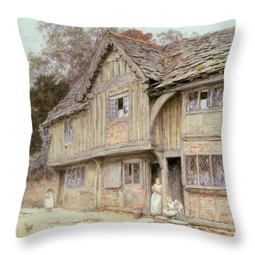 Outside A Timbered Cottage Throw Pillow