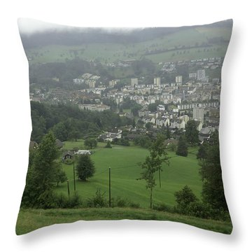 Ovehead View Of Houses From The Gondola Starting At Kriens In Switzerland Throw Pillow by Ashish Agarwal