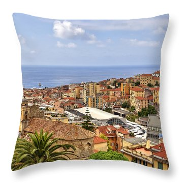 Over The Roofs Of Sanremo Throw Pillow by Joana Kruse