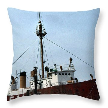 Overfalls Lightship Throw Pillow by Skip Willits