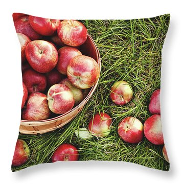 Overhead Shot Of A Basket Of Freshly Picked Apples Throw Pillow by Sandra Cunningham