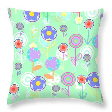Overlayer Flowers  Throw Pillow by Louisa Knight