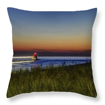 Overlooking The Piers Throw Pillow