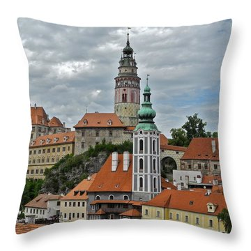 Throw Pillow featuring the photograph Overview Of Cesky Krumlov by Kirsten Giving