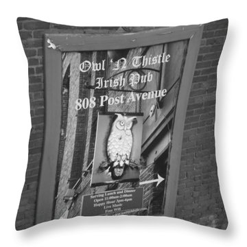Owl And Thistle Irish Pub Throw Pillow