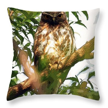 Throw Pillow featuring the digital art Owl In Contemplation by Pravine Chester